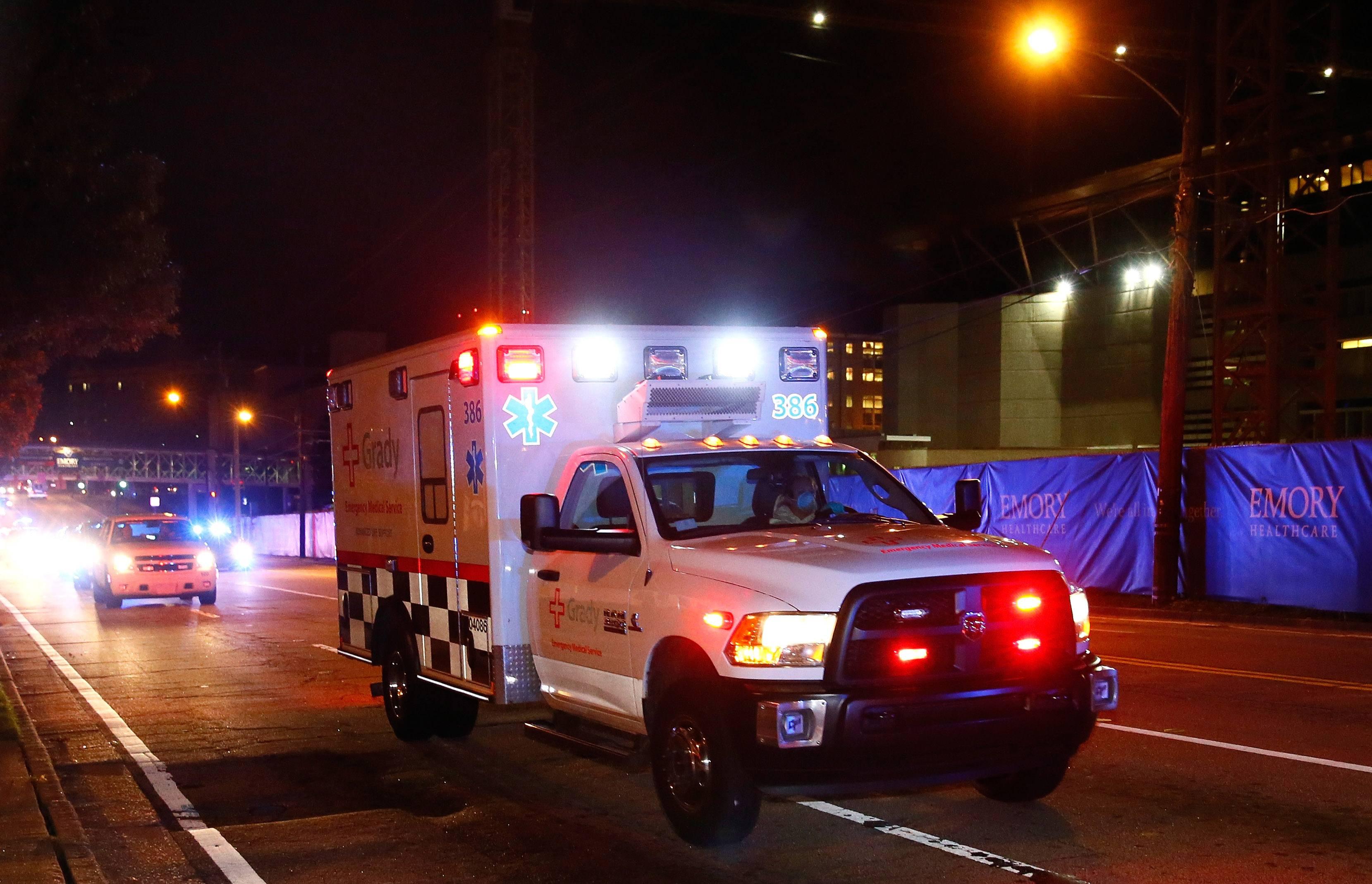 An ambulance on an Atlanta street