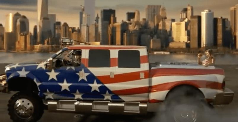 Amerian flag pickup truck