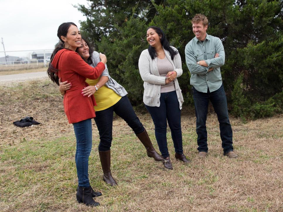 Angela Silva's mother captures Joanna Gaines in an embrace after seeing their newly renovated home by the Fixer Upper team.