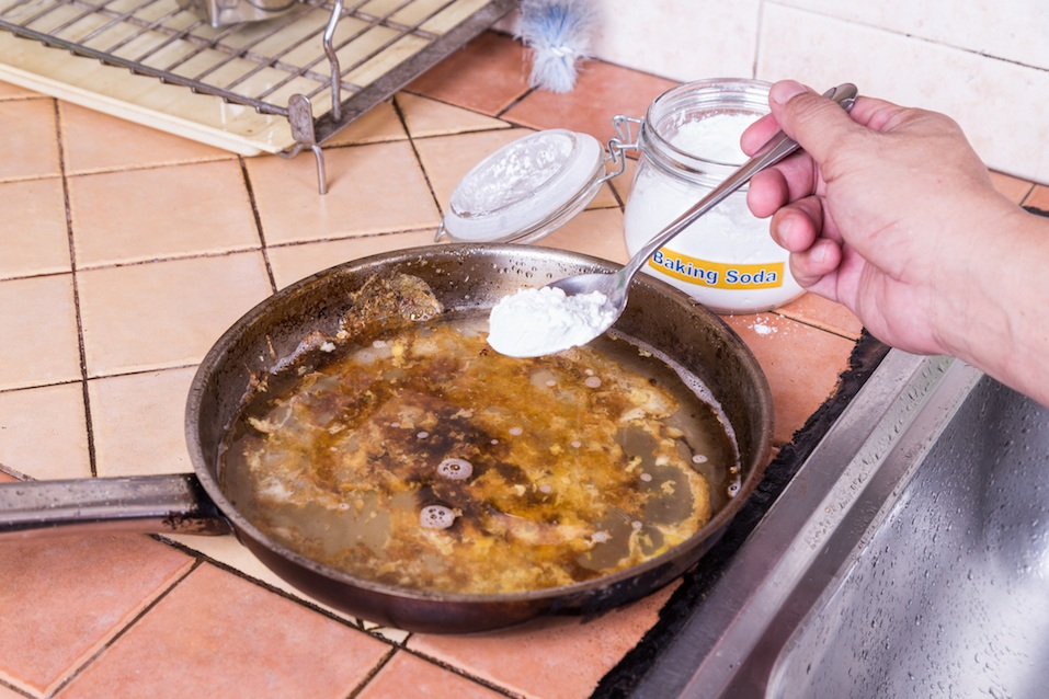 Baking soda to soak and remove burnt-on food