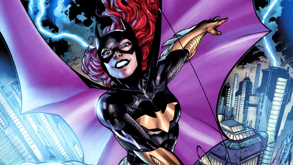 Batgirl in costume swinging over Gotham City during a storm and smiling
