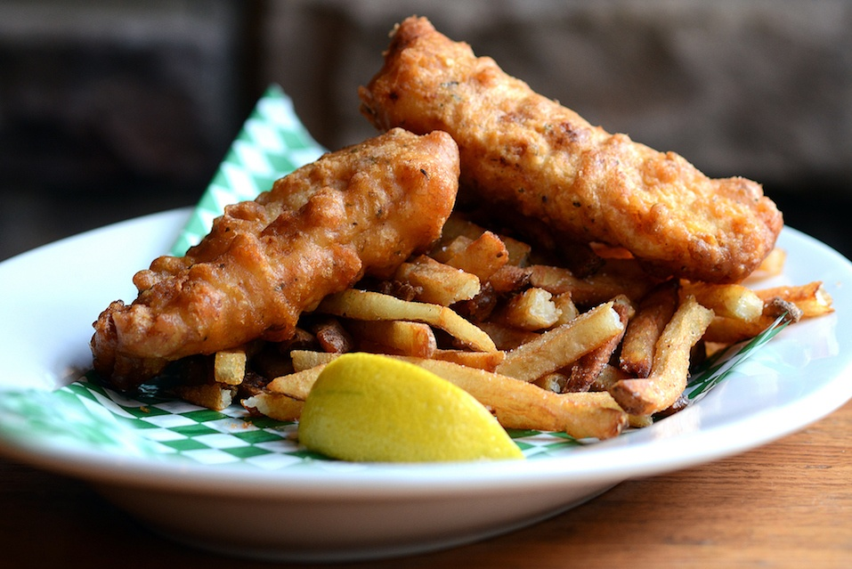Beer Battered Crispy Fish and Chips with Golden French Fries