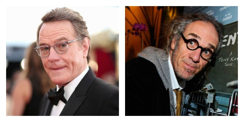 """On the left is Bryan Cranston wearing a suit and glasses on the red carpet. On the right is Tony Kaye posing with the poster of """"Detachment."""""""