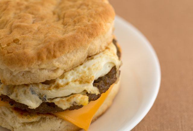 Breakfast sausage egg and cheese biscuit