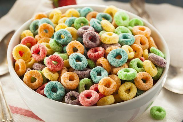 Colorful cereal in a white bowl.