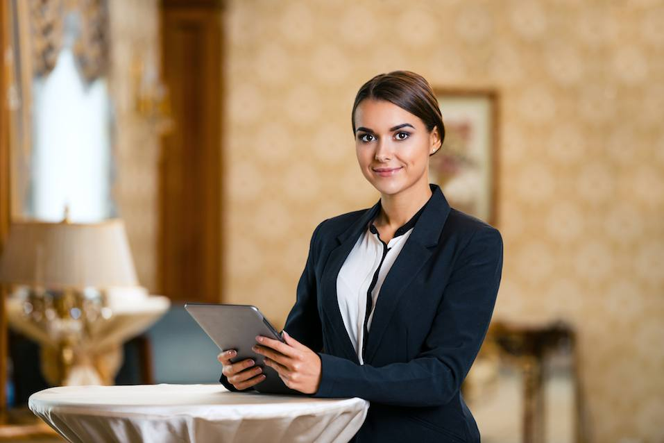 businesswoman in expensive hotel