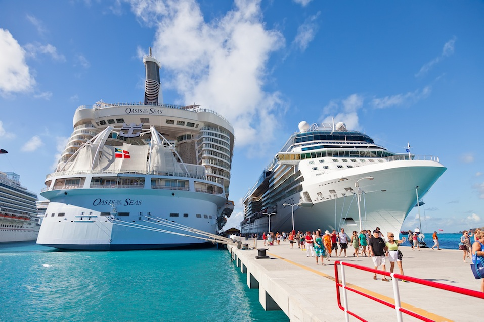 two cruise ships in a port