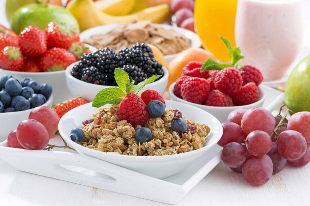 Delicious and healthy breakfast with fruits