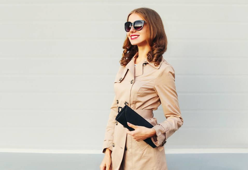 Pretty woman model wearing coat