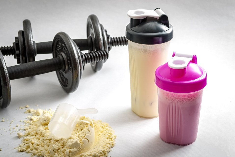 Dumbbells, protein shakers and a scoop in protein powder