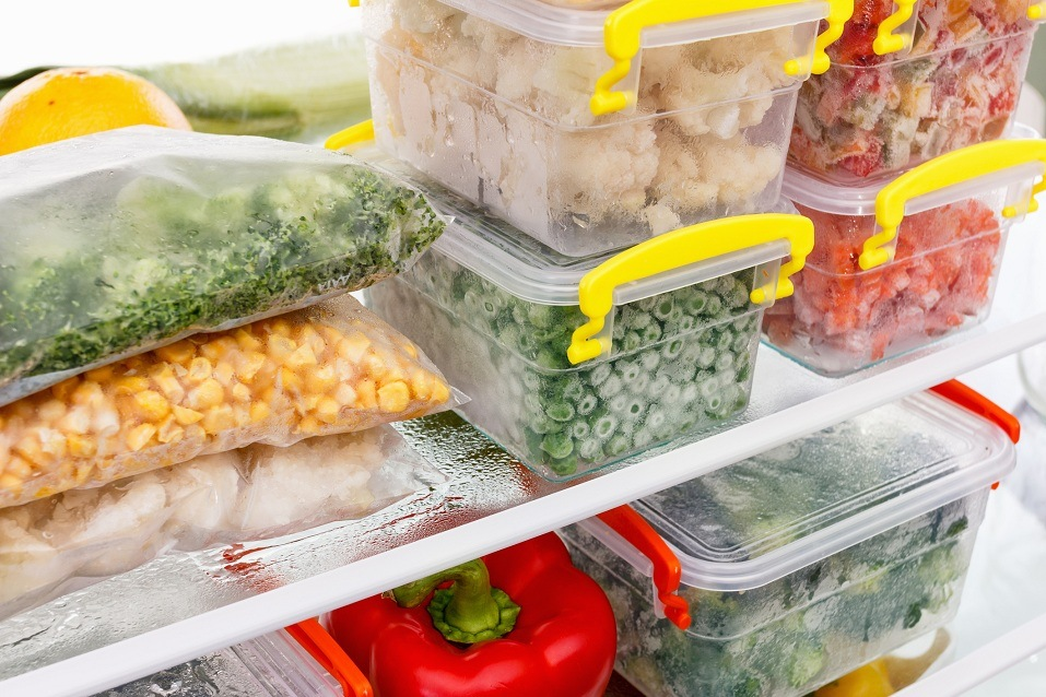 Frozen food in the refrigerator