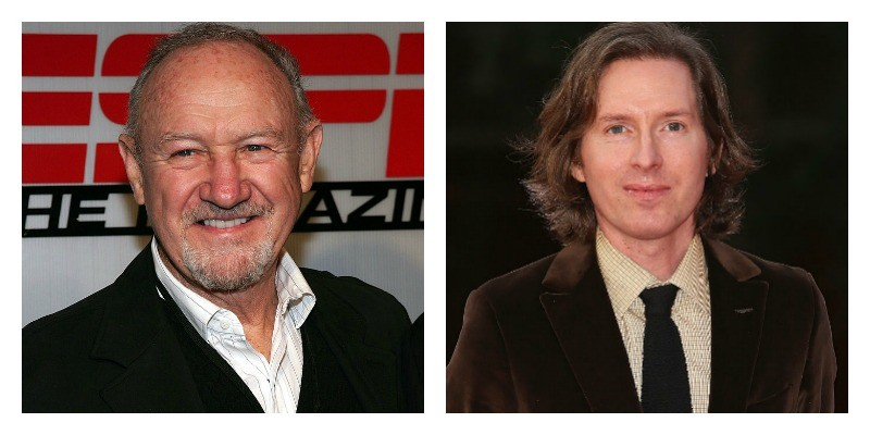 On the left is a picture of Gene Hackman smiling. On the right is a picture of Wes Anderson smiling.