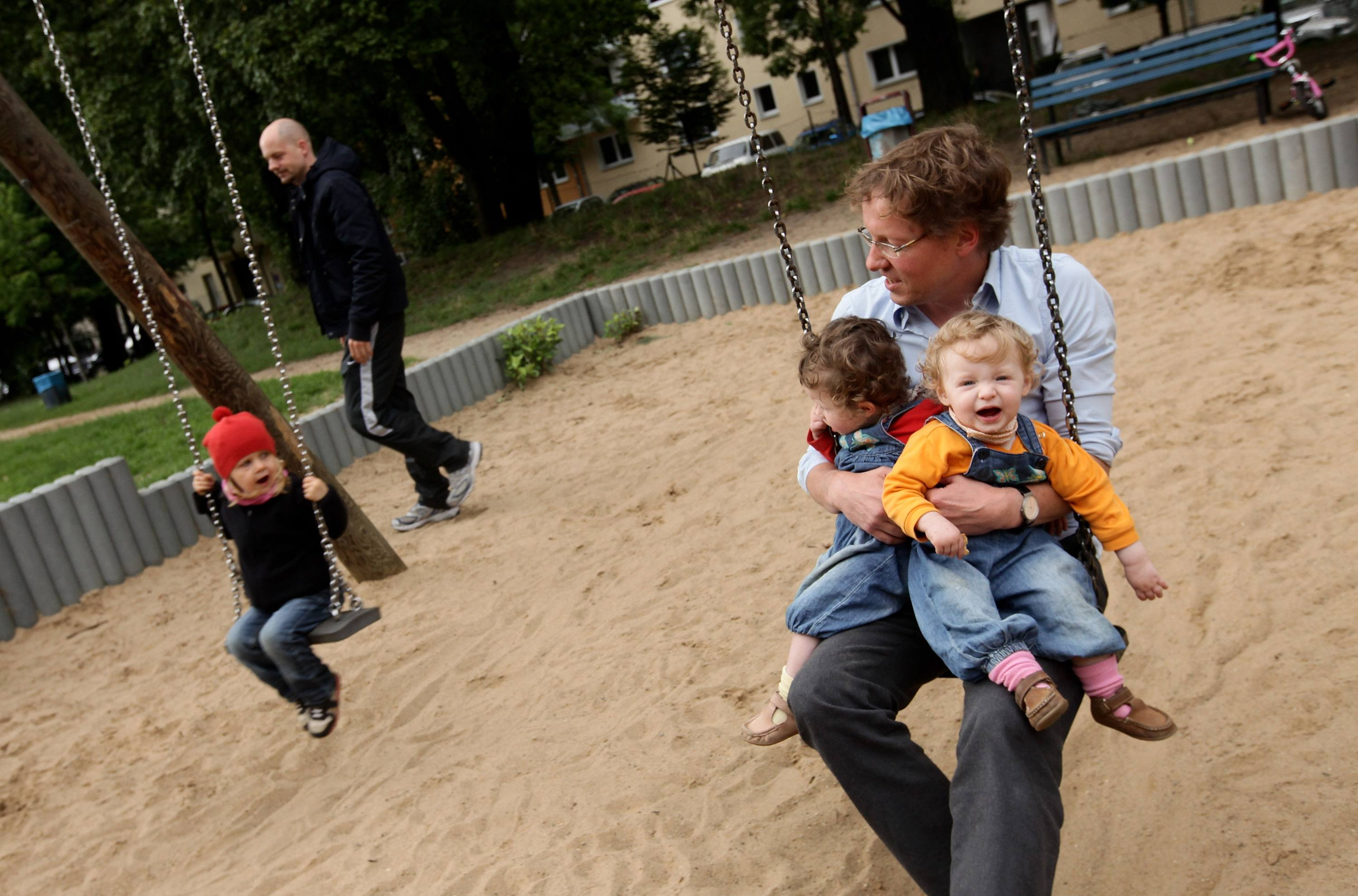 A German man spends time with his kids