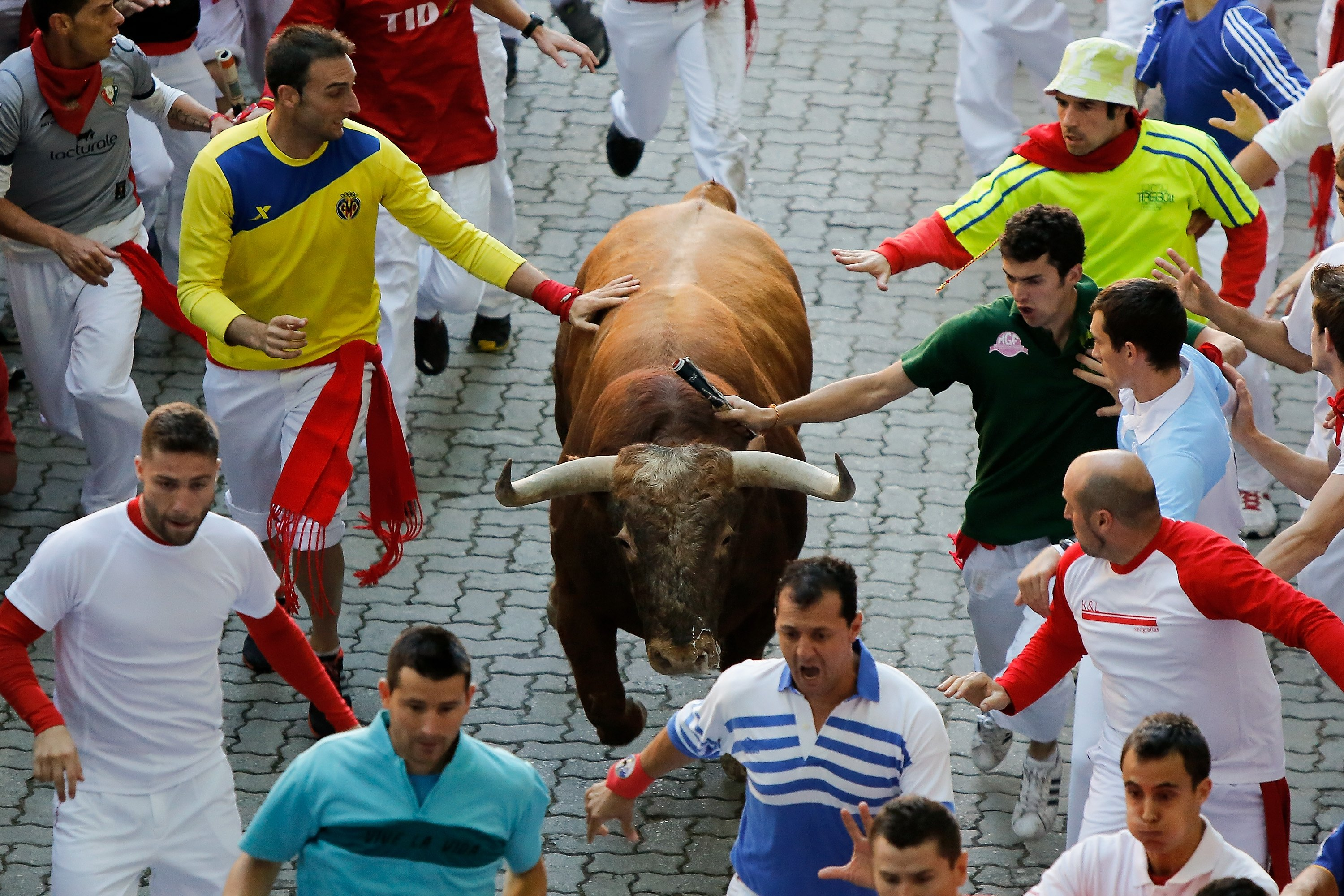 Spaniards run with a bull instead of working