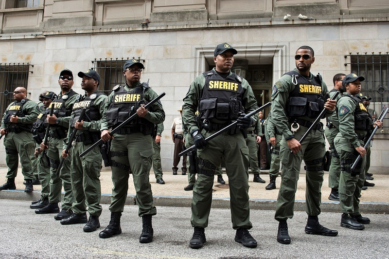 officers stand in line