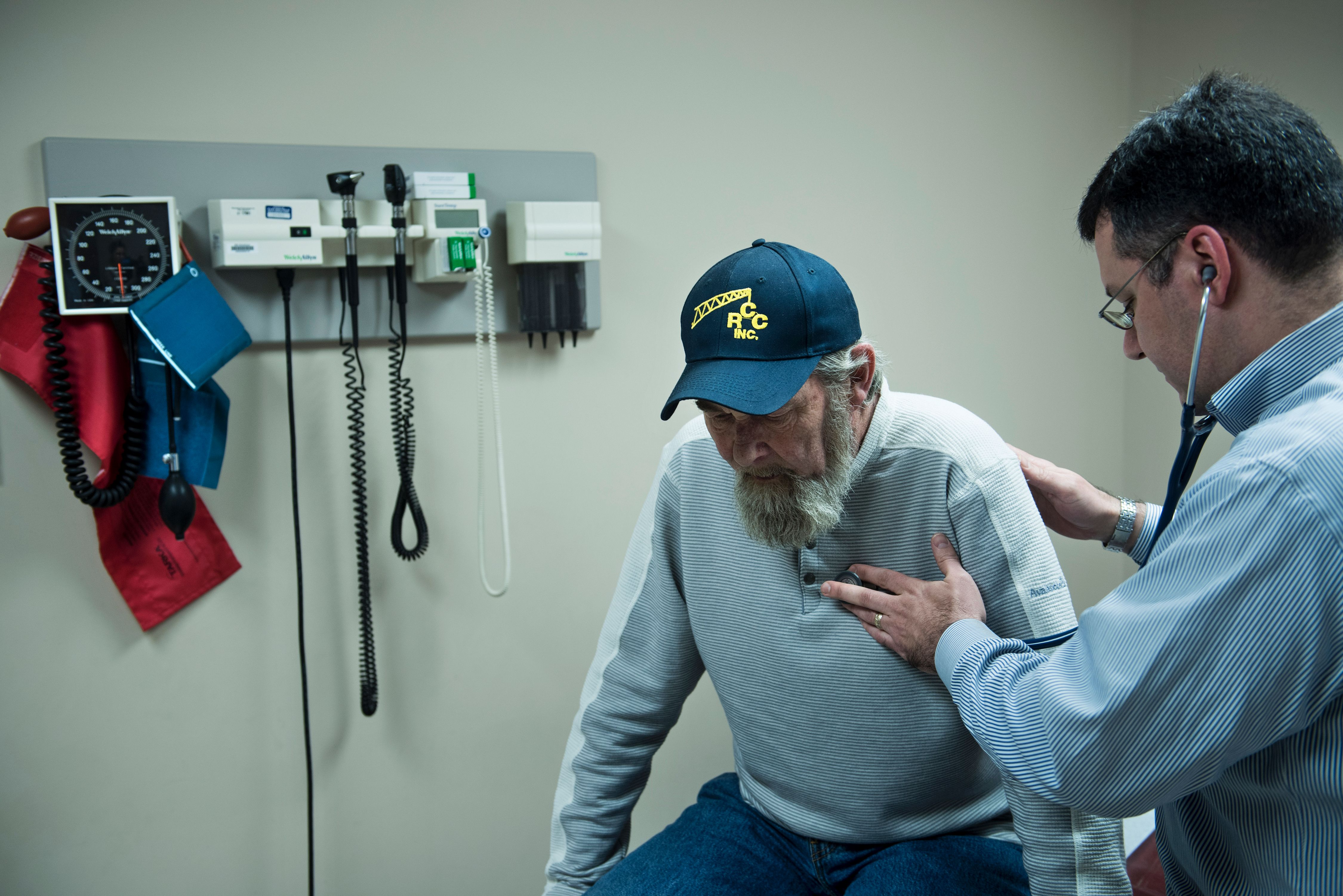A lung cancer patient receives treatment at a West Virginia hospital