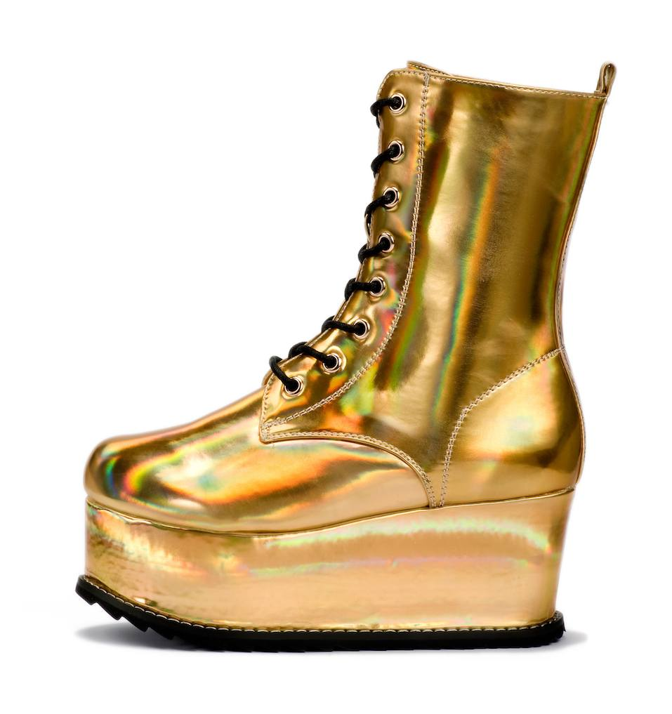 Golden alien shoe with a shiny metallic finish