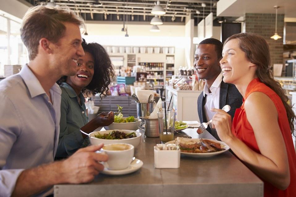 friends enjoy lunch