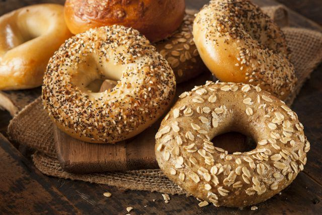 Whole Grain Bagels on a table.