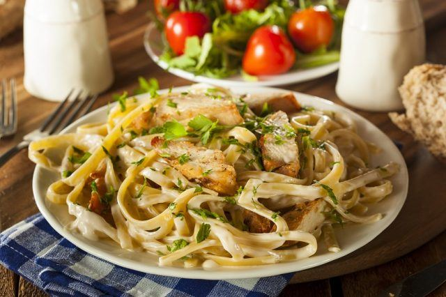 This pasta is healthier than most traditional pasta bowls on the menu.
