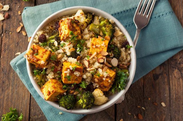 Quinoa tofu Bowl with roasted vegetables.