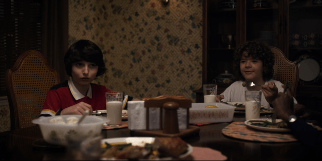 In 'Stranger Things,' Mrs. Wheeler serves a dinner of meatloaf, mashed potatoes, green beans, and rolls