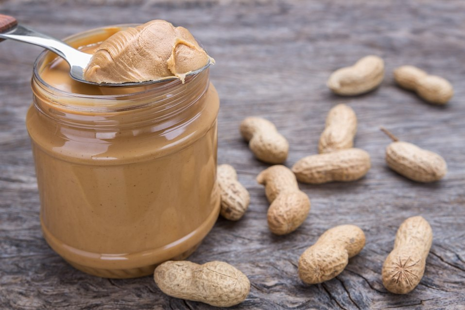 Jar of peanut butter with nuts