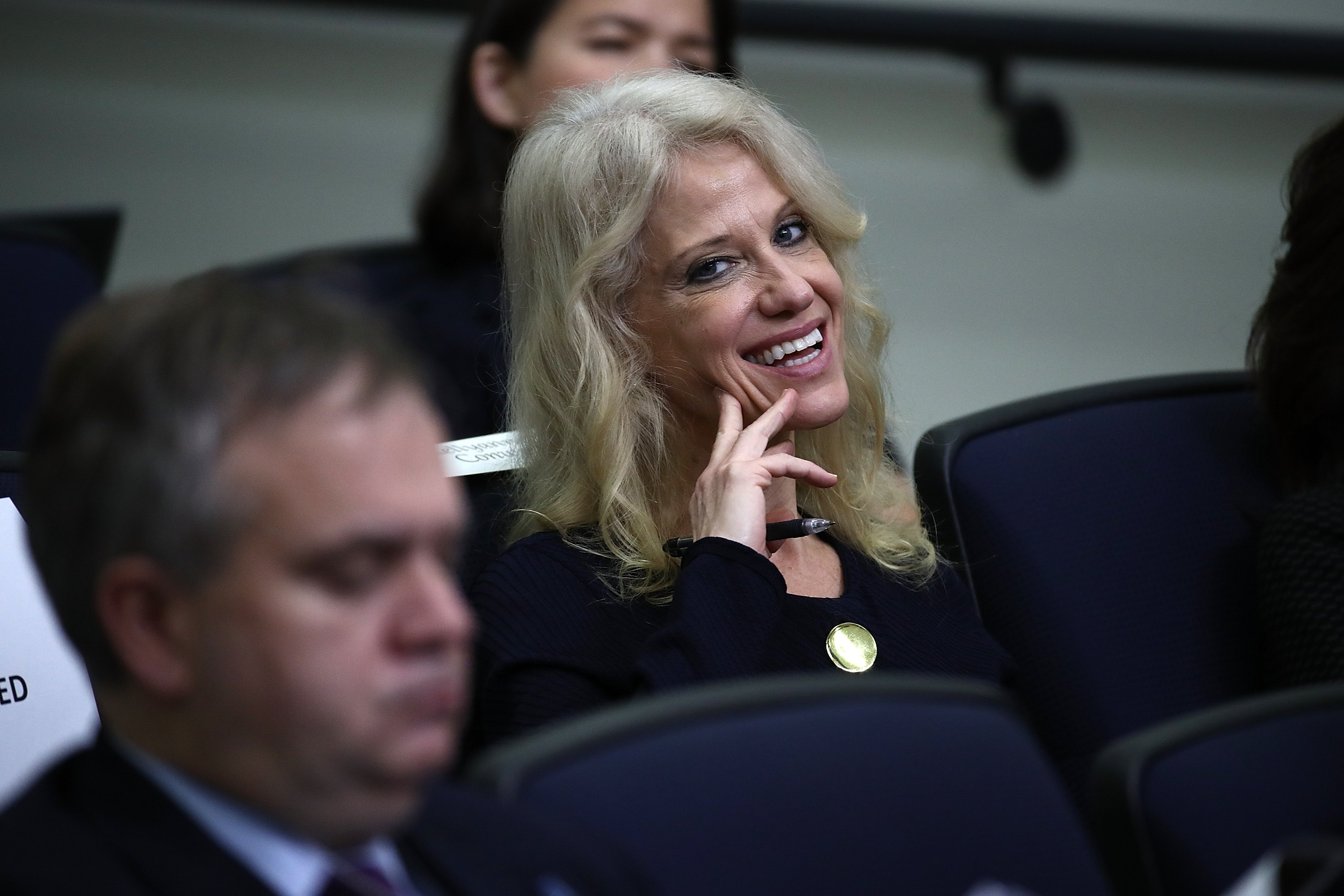 Kellyanne Conway, a counselor to U.S. President Donald Trump, attends an event