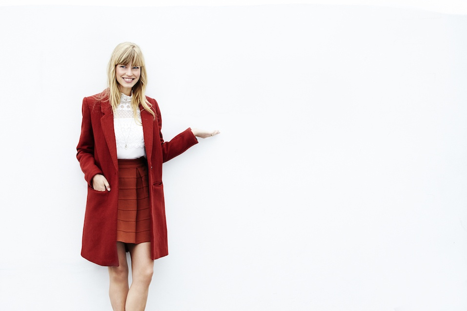 Lady in red coat