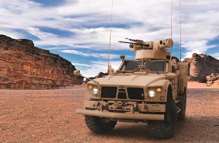 An M-ATV Assault vehicle in the desert.