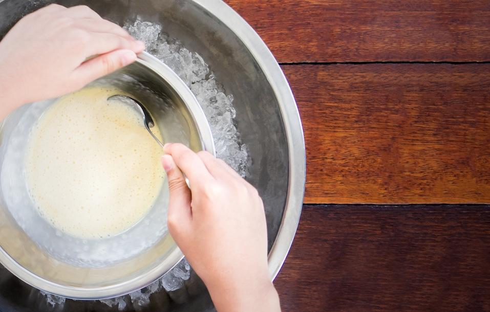Spinning steel bowl for making Vanilla Ice Cream