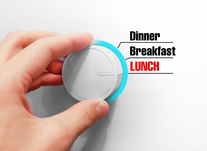 """switch that says """"dinner, breakfast, and lunch"""""""