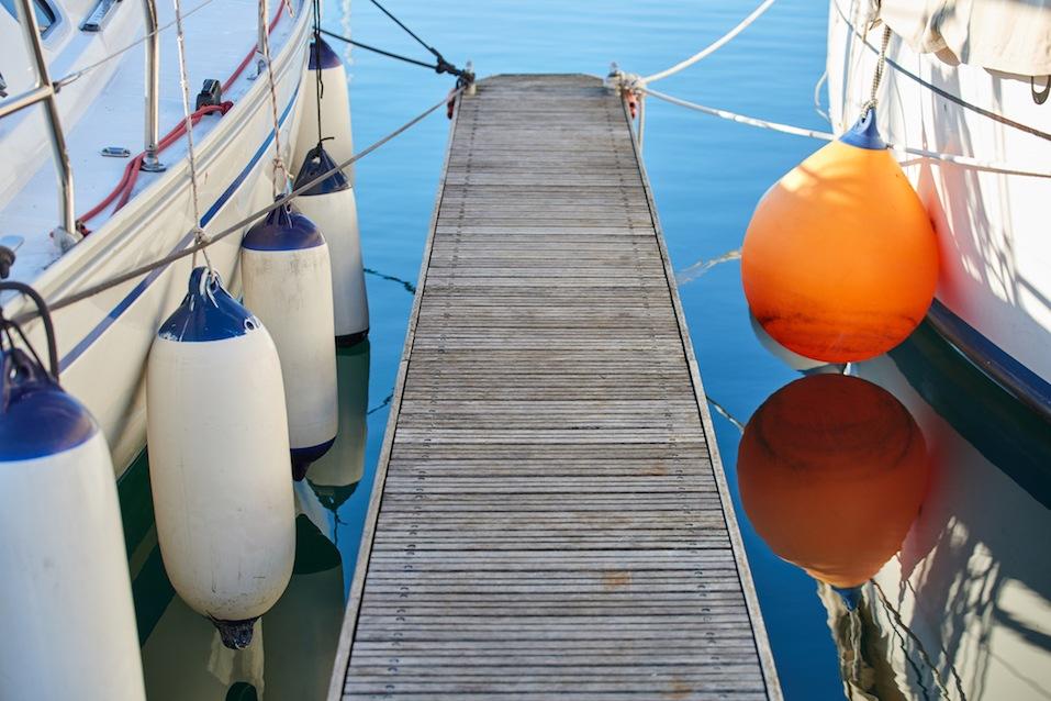 Marina with anchored boats