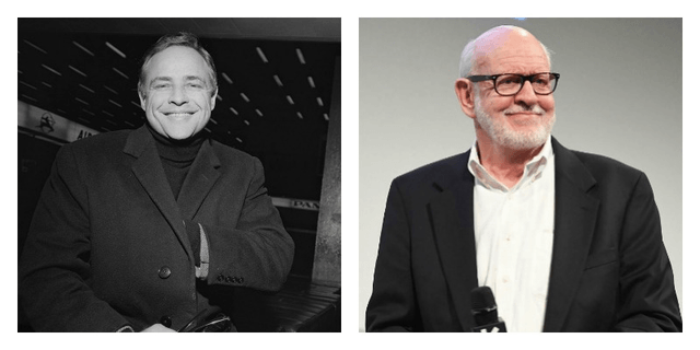 On the left is a black and white photo of Marlon Brando. On the right is a picture of Frank Oz smiling and holding a microphone.