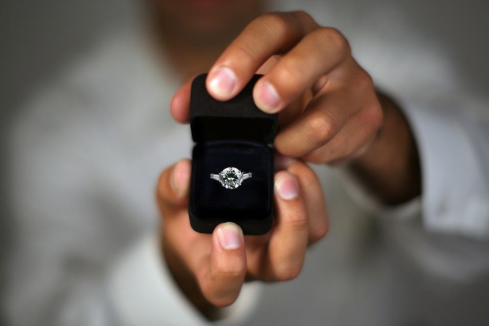 an engagement ring in a box