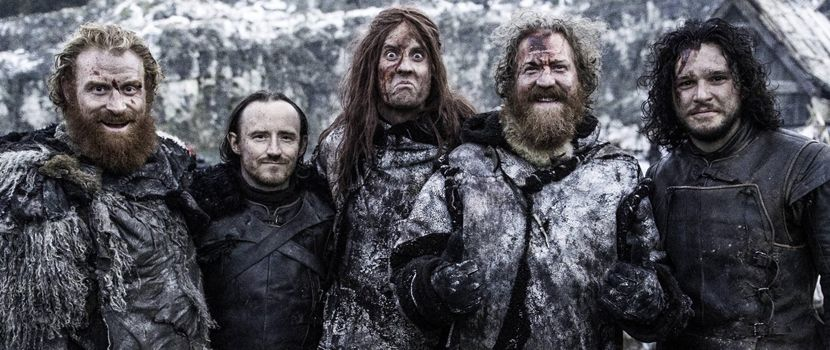 Mastodon dressed as Wildlings, posing for a photo with Jon Snow and the Night's Watch