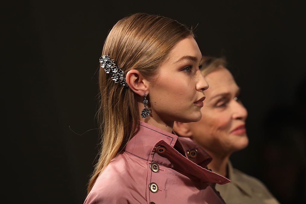 Model Gigi Hadid walks the runway at the Bottega Veneta show