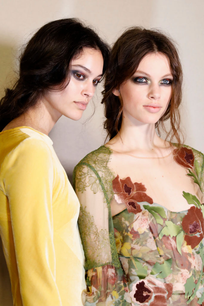 Models are seen backstage ahead of the Alberta Ferretti show