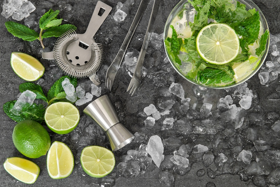 limes and ice for a margarita drink preparation