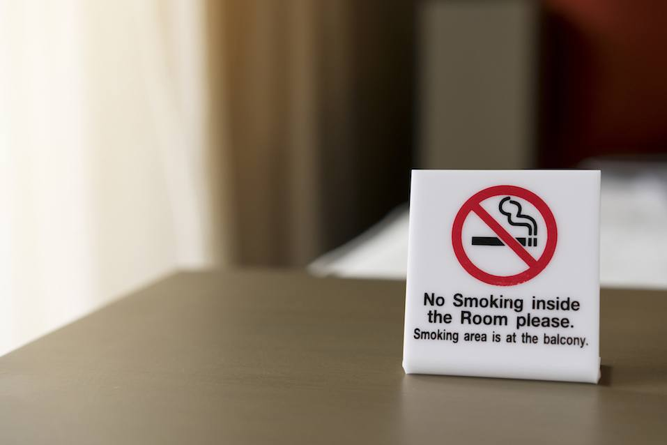No smoking sign inside the room in the hotel