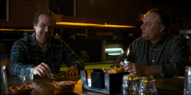On 'Stranger Things,' Detective Hopper drinks whiskey and snacks on nuts and pretzels
