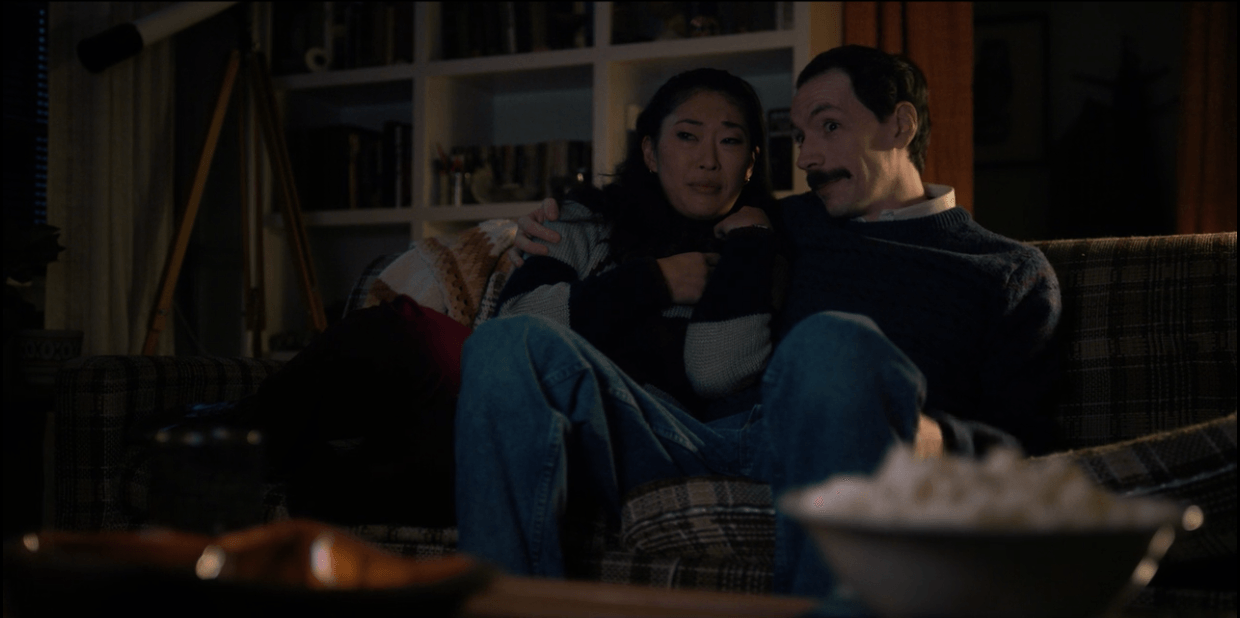 On 'Stranger Things,' Mr. Clarke and Jen watch 'The Thing' and eat popcorn