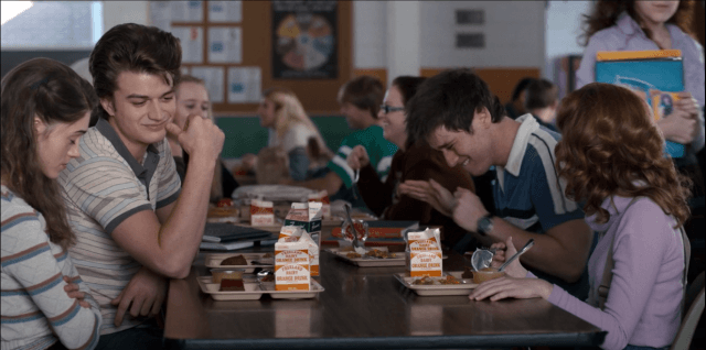 On 'Stranger Things,' Nancy and Steve eat lunch at the school cafeteria with Tommy and Carol