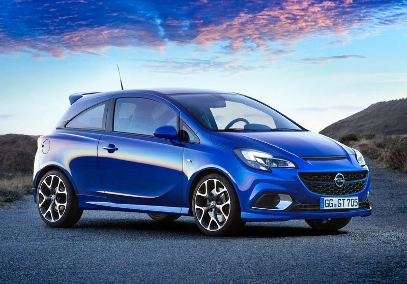 The Opel Corsa in blue.