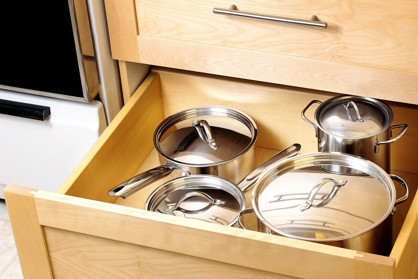 pots in a drawer