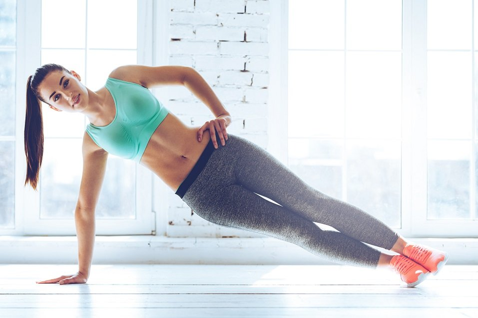 Woman performing a side plank