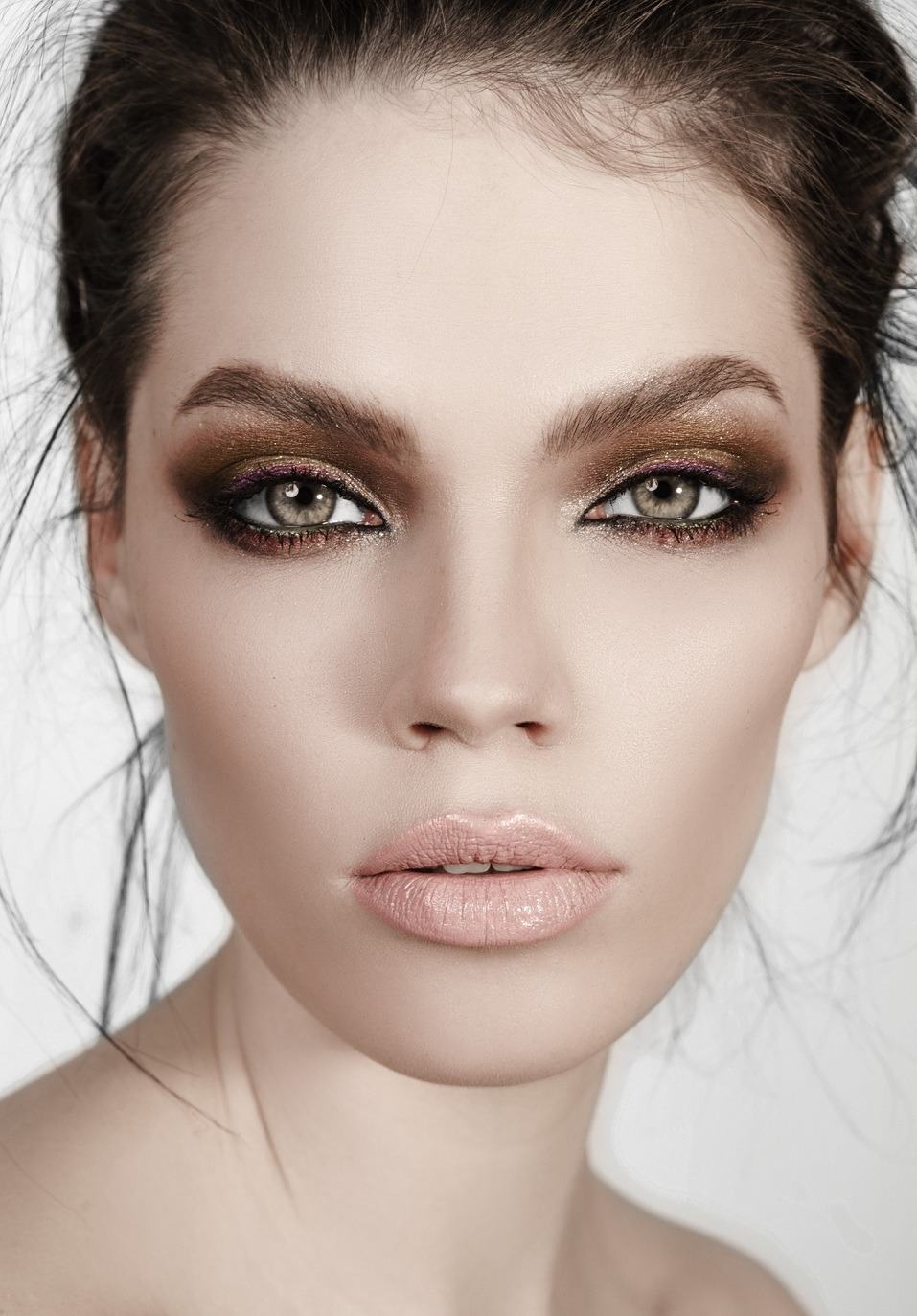 green eyed brunette with beautiful high-fashion make-up
