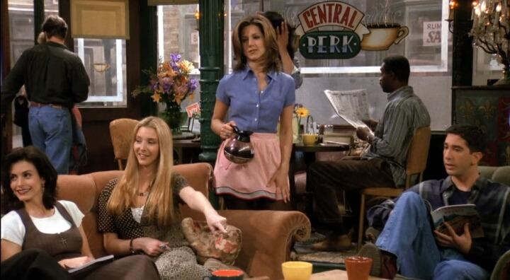 Rachel Green at Central Perk on 'Friends'