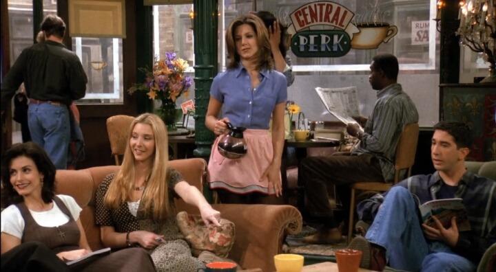 Rachel Green at Central Perk on 'Friends'