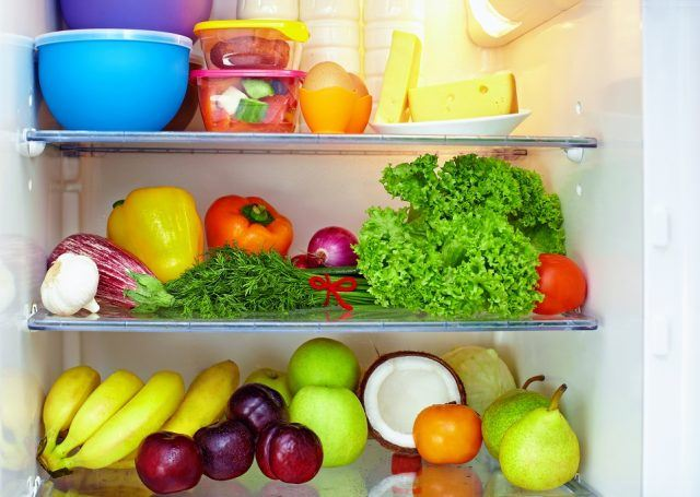 Refrigerator full of healthy food.